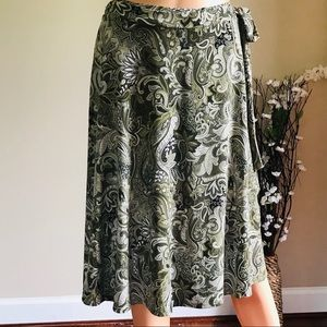 Tailor B. Moss Skirts - Tailor B. Moss Light Olive Wrap Tie Midi Skirt